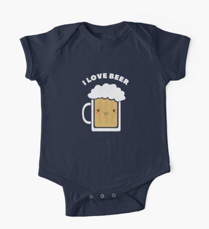 Cute I Love Beer  One Piece - Short Sleeve