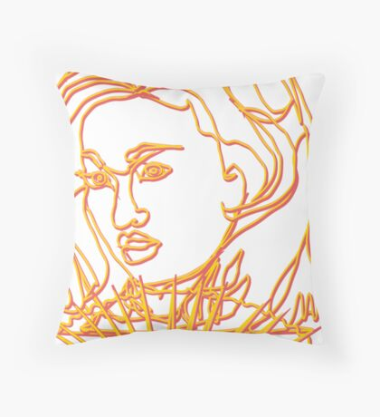 Oriental Girl with Fan Throw Pillow