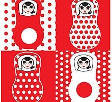 Matryoshka Missydoll goes red and white by missydoll