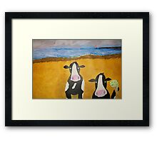 Cows at the Beach Framed Print