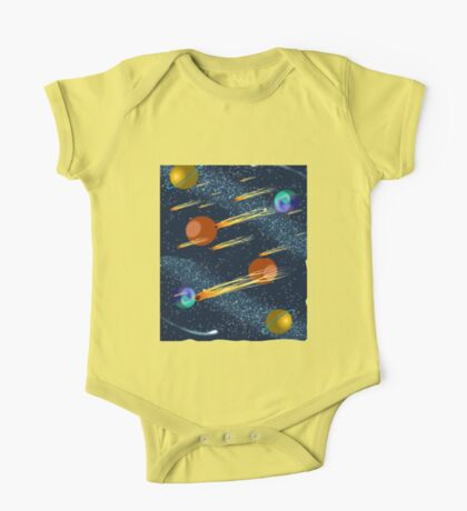 Outer Space Scene, Complete With Meteors, Comets and Planets. One Piece - Short Sleeve