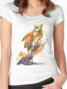 Owl and Guitar Women's Fitted Scoop T-Shirt