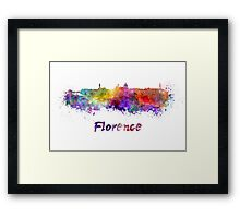 Florence skyline in watercolor Framed Print