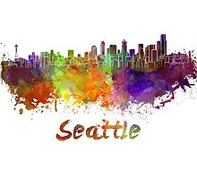 Seattle skyline in watercolor by paulrommer