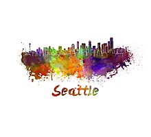 Seattle skyline in watercolor Photographic Print