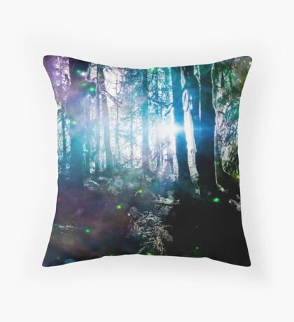 Forest Trees Magical Path Fireflies - Olympic National Park Hoh Rainforest Throw Pillow