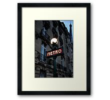 métro in the blue hour Framed Print