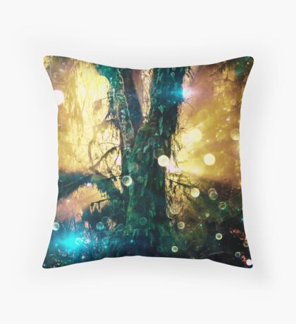 Magical Forest Tree of Life - Olympic National Park Hoh Rainforest Throw Pillow