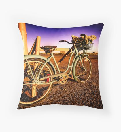 Retro Vintage Bicycle - Route 66 Midpoint at Dawn Turquoise Teal Blue and Purple Throw Pillow