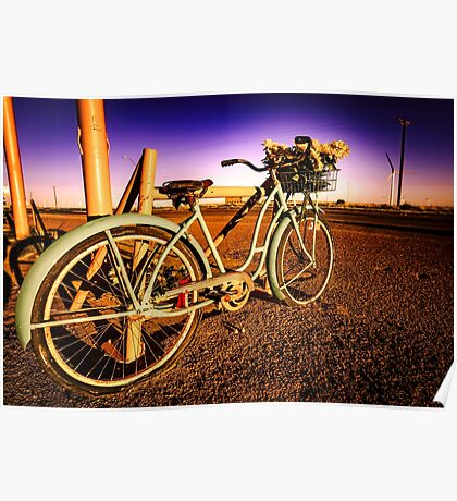 Retro Vintage Bicycle - Route 66 Midpoint at Dawn Turquoise Teal Blue and Purple Poster