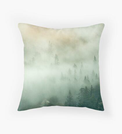 Forest Trees Fog in the Mountains Throw Pillow