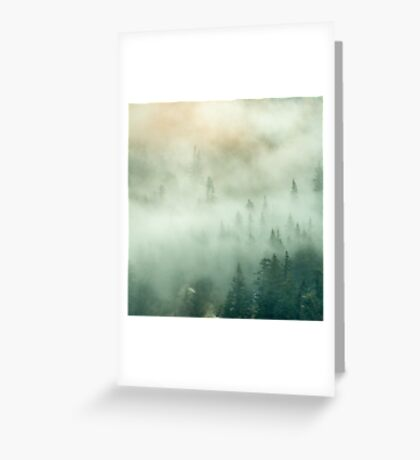 Forest Trees Fog in the Mountains Greeting Card