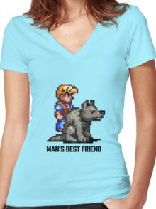 Man's Best Friend Women's Fitted V-Neck T-Shirt