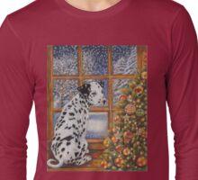 Christmas Dog Art - Dalmatian Puppy by the Christmas Tree Long Sleeve T-Shirt