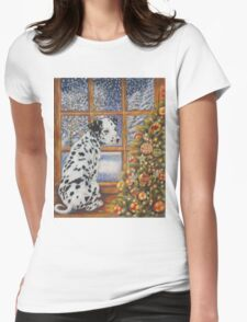 Christmas Dog Art - Dalmatian Puppy by the Christmas Tree Womens Fitted T-Shirt