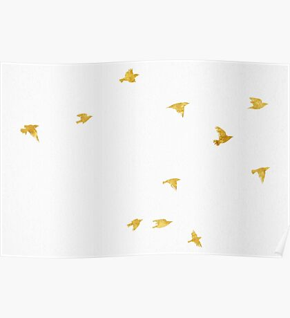 Fly Free - Birds in Gold Poster