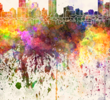 Melbourne skyline in watercolor background Sticker