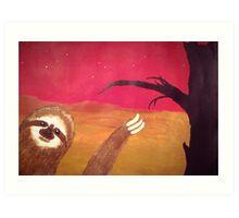 Photobombing Sloth Art Print