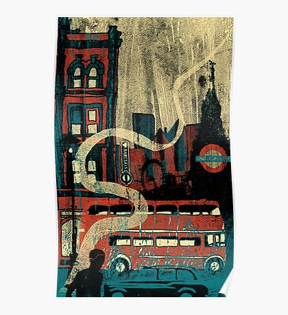 London in the rain  Poster