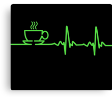 Morning Coffee Heartbeat EKG Canvas Print