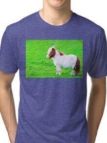 White chestnut pony horse in green grass field Tri-blend T-Shirt