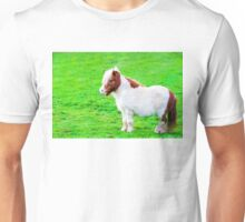 White chestnut pony horse in green grass field Unisex T-Shirt
