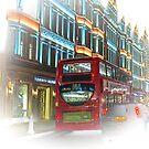 London's double decker passing Harrods by Richard Shakenovsky