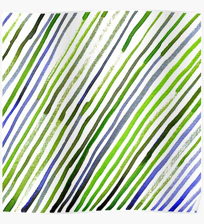 Watercolor abstract lines green and blue print Poster