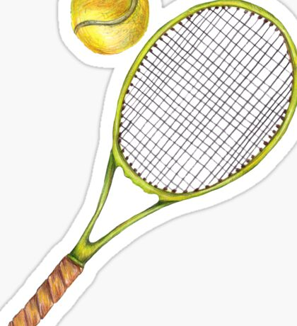 Tennis racket with tennis ball. color pencil Sticker