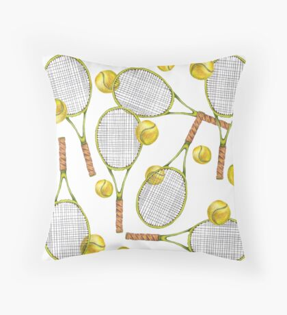 pattern with tennis rackets with tennis balls. color pencil Throw Pillow