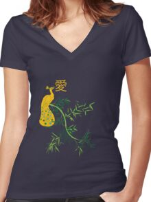 Tranquil emission (yellow) Women's Fitted V-Neck T-Shirt