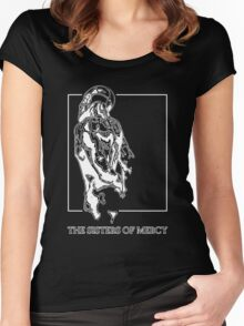 The Sisters Of Mercy - The Worlds End - Back - Black and White Women's Fitted Scoop T-Shirt