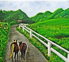 Just a Couple of Asses...Down On Oko's Farm by WhiteDove Studio kj gordon
