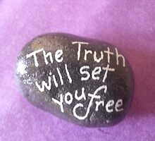 The Truth will set you Free quote on hand painted rock   by Melissa Goza