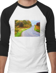 Autumn countryside road  Men's Baseball ¾ T-Shirt