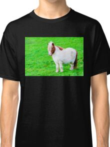 White chestnut pony horse in green grass field, copy space available Classic T-Shirt