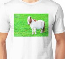 White chestnut pony horse in green grass field, copy space available Unisex T-Shirt