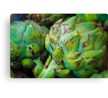 Closeup on Fresh green artichokes in the market, organic vegetables background Canvas Print