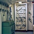 Door inside the USS YORKTOWN Aircraft Carrier by TJ Baccari Photography