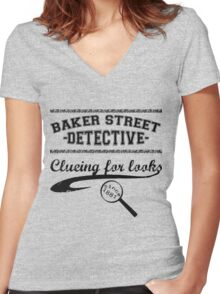 Baker Street Detective (Black) Women's Fitted V-Neck T-Shirt