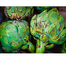 Closeup on Fresh green artichokes in the market, organic vegetables background Photographic Print