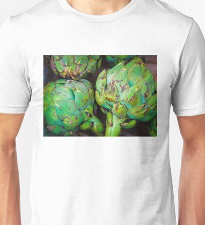 Closeup on Fresh green artichokes in the market, organic vegetables background Unisex T-Shirt