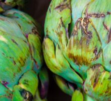 Closeup on Fresh green artichokes in the market, organic vegetables background Sticker