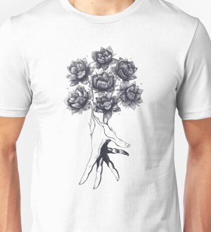 Hand with lotuses Unisex T-Shirt