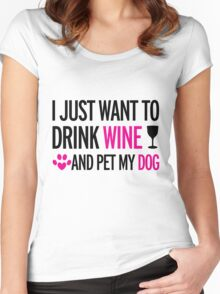 drink, wine, pet, dog Women's Fitted Scoop T-Shirt