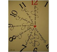 Clock design scripture Galatians 4 calligraphy art by Melissa Goza