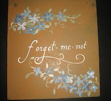 Hand painted sign Forget-me-not with flowers by Melissa Goza