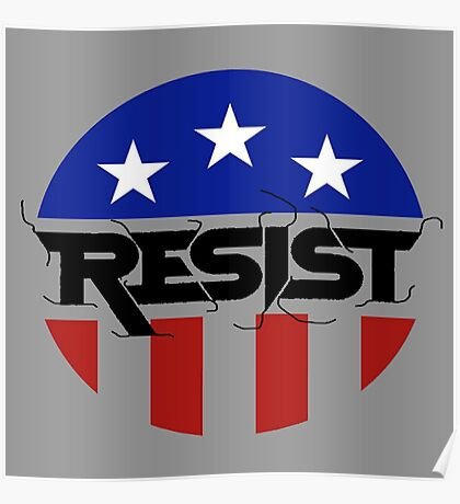 america flag with black resist Poster