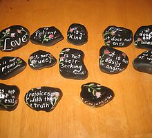 Love verse 1 Corinthians 13 hand painted rocks by Melissa Goza