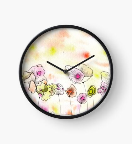 Watercolour Doodled Flowers Clock